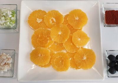 Ingredientes ensalada de naranja con bacalao y aove